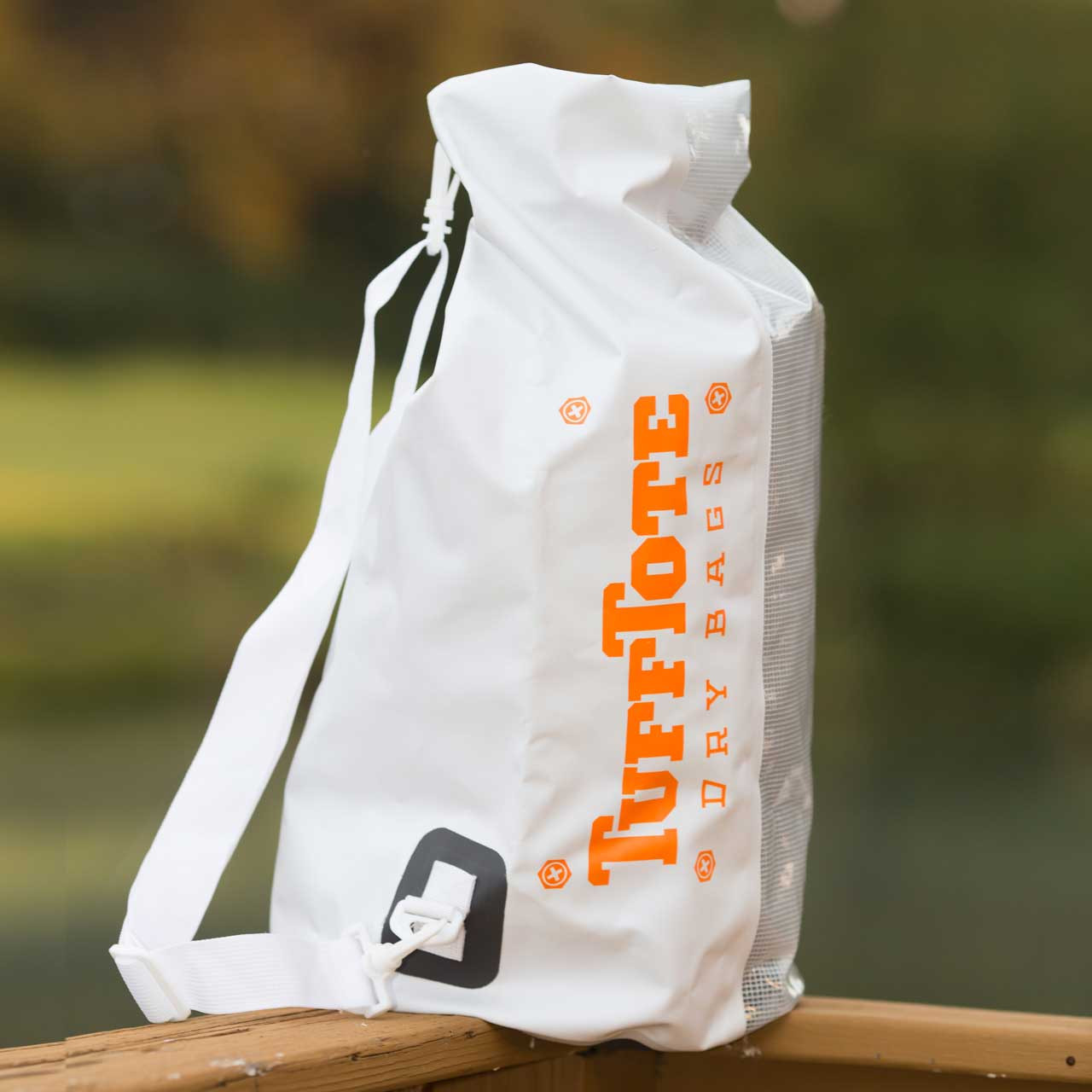 Side view of the White 30L Tuff Tote Bag