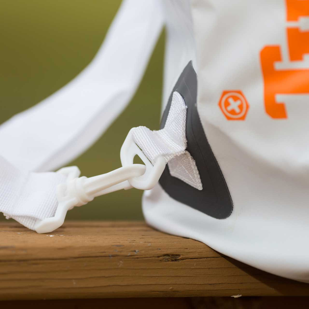 Side view of the shoulder strap on the White 30L Tuff Tote Bag