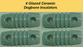 Four Glazed Ceramic Dogbone Insulators