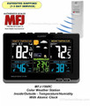 MFJ-156RC COLOR WEATHER STATION INSIDE/OUTSIDE TEMPERATURE/HUMIDITY - ATOMIC CLOCK