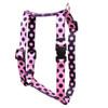 "Pink and Black Polka Dot Roman Style ""H"" Dog Harness"