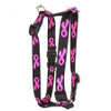 """Breast Cancer Black Roman Style """"H"""" Dog Harness"""