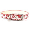 Shimmer Flowers leather Dog Collar with Crystal Charm