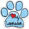I Love My Labrador BLUE Scribble Paw Magnet