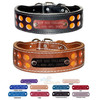 2 Row Reflective Leather dog collars with Name Plates