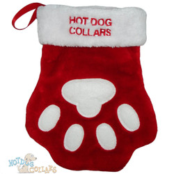Personalized, Embroidered Red Paw Print Stocking