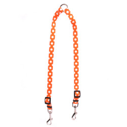 Tangerine Polka Dot Coupler Dog Leash