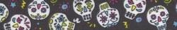 "Sugar Skulls Black Roman Style ""H"" Dog Harness"