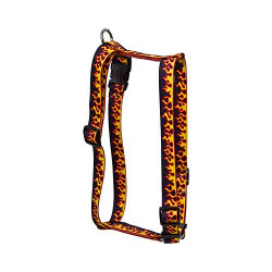 "Red Flames Roman Style ""H"" Dog Harness"