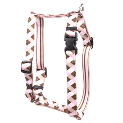 "Pink and Brown Argyle Roman Style ""H"" Dog Harness"