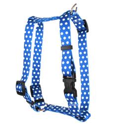 "Navy Polka Dot Roman Style ""H"" Dog Harness"
