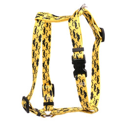"Mustaches On Yellow Roman Style ""H"" Dog Harness"