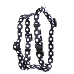 "Licorice Polka Dot Roman Style ""H"" Dog Harness"