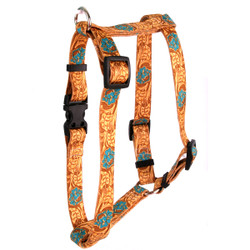 """Leather Rose Teal Roman Style """"H"""" Fabric Dog Harness"""