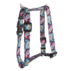"Black Paisley Roman Style ""H"" Dog Harness"