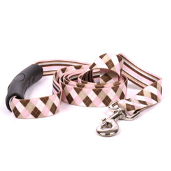 Pink and Brown Argyle EZ-Grip Dog Leash