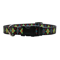 Green Argyle Dog Collar