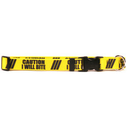 1 Inch - Caution I Will Bite Dog Collar