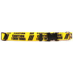 1 Inch - Caution I Chew On Things Dog Collar