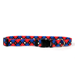 American Argyle Dog Collar with Tag-A-Long