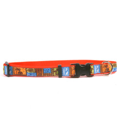 Tiki Print on Orange Grosgrain Ribbon Collar