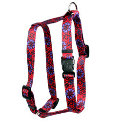 "Red Lace Flowers Roman Style ""H"" Dog Harness"