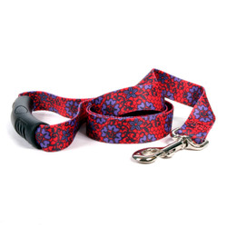 Red Lace Flowers EZ-Grip Dog Leash