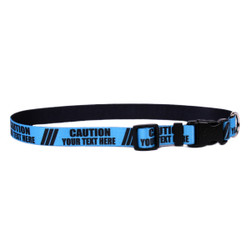 Personalized Caution BLUE Dog Collar