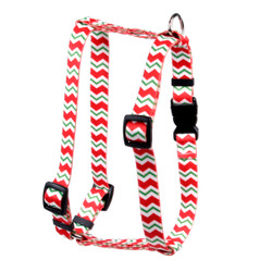 "Peppermint Stick Chevron Stripes Roman Style ""H"" Dog Harness"