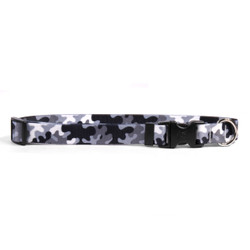 Black and White Camo Dog Collar with Tag-A-Long