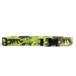 Neon Camo Dog Collar with Tag-A-Long