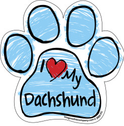 I Love My Dachshund BLUE Scribble Paw Magnet