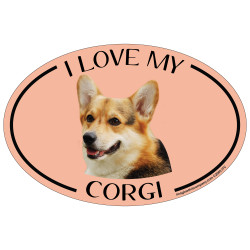 I Love My Corgi Colorful Oval Magnet