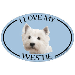 I Love My Westie Colorful Oval Magnet