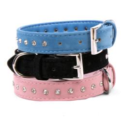 Velvet And Inset Crystal Dog Collar
