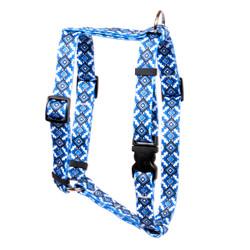 "Aztec Blue Roman Style ""H"" Dog Harness"