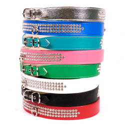 Luxury 3-Row Crystal Dog Collar