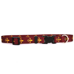 Fleur de Lis Red Break Away Cat Collar