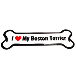 I Love My Boston Terrier Bone Magnet