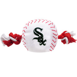 Chicago White Sox Nylon Rope Baseball Squeaker  Dog Toy