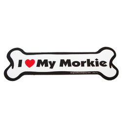I Love My Morkie Bone Magnet