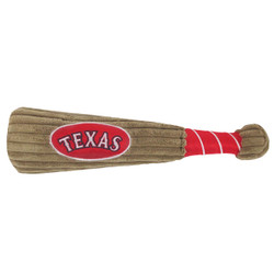 Texas Rangers Baseball Bat Squeaker Dog Toy