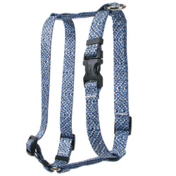 Blue Tweed Roman Style H Dog Harness
