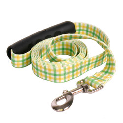 Southern Dawg Gingham Yellow and Green Premium Dog Leash