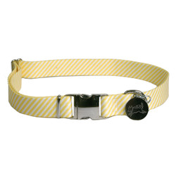 Southern Dawg Seersucker Yellow Premium Dog Collar