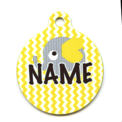 Yellow Elephants HD Pet ID Tag
