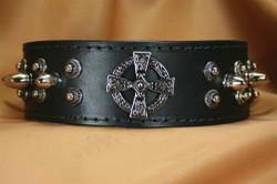 Celtic Cross Studded Leather Collar