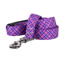 Purple and Pink Diagonal Plaid EZ-Grip Dog Leash