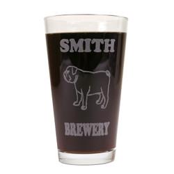 Personalized Pint Glass Beer Mug - Bulldog