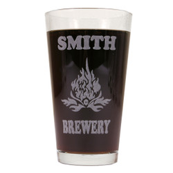 Personalized Pint Glass Beer Mug - Flames